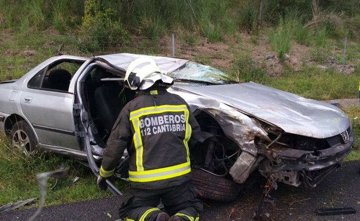 Accidente en la A-8, en Hazas de Cesto