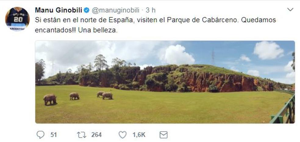 La estrella de la NBA Manu Ginobili visita Cabárceno