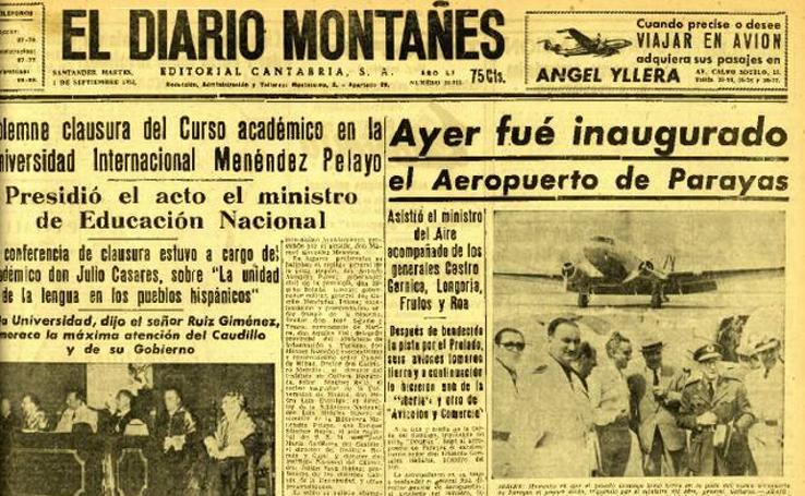 Así fue la portada de El Diario Montañés el 31 de agosto de 1953