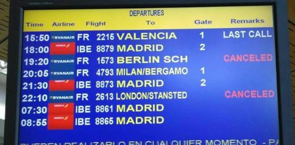 Cancelados los vuelos de hoy de Ryanair de Santander a Londres y Berlín