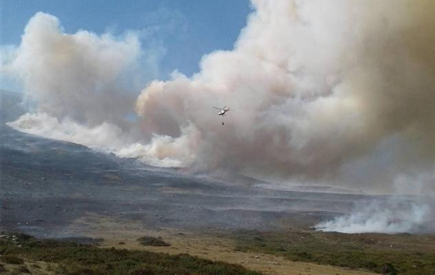 La sequía y el viento complican un incendio provocado en Campoo de Suso