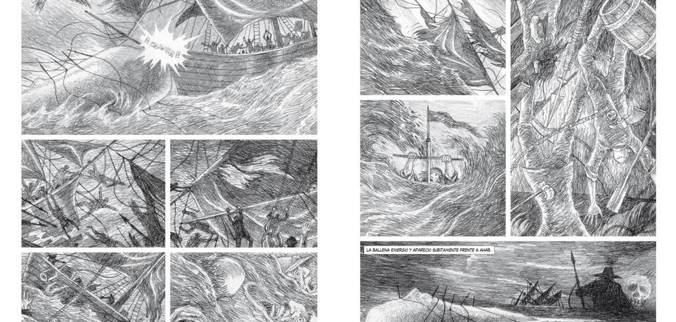 Moby Dick surca el océano gráfico
