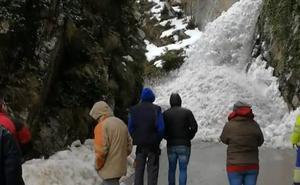 Una avalancha de nieve sorprende a varias personas en Tudanca