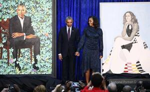 La familia Obama reaparece para la presentación de sus retratos en la National Gallery