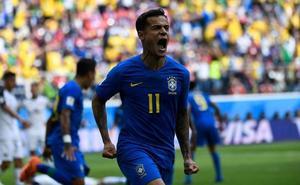 Coutinho rescata a Brasil en el descuento y condena a Costa Rica