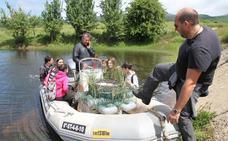 Alumnos del Colegio San José instalan varios nidos en la laguna de Lanchares