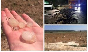 Una impresionante tormenta, con granizo de gran tamaño, causa daños en Valderredible