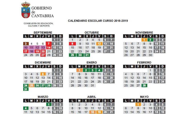 Calendario Escolar de Cantabria 2018-2019