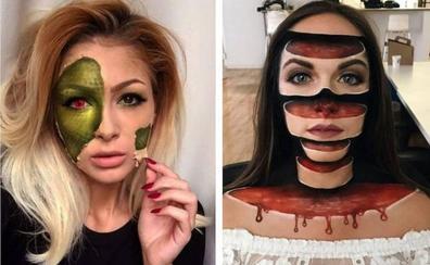 Maquillajes con ilusiones ópticas para dar mucho miedo en Halloween
