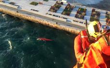 Rescatan en helicóptero a un piragüista volcado en la bahía de Santander