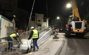 Instalado en Canalejas el tramo final de la rampa mecánica que unirá San Martín y el Alto de Miranda