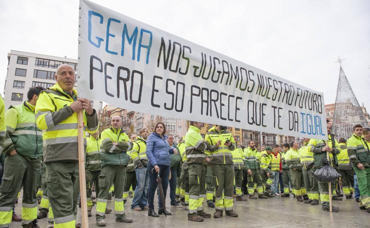 Nueva protesta de los trabajadores de Parques y Jardines de Santander