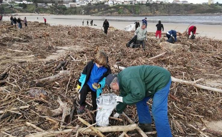 Cientos de voluntarios participan en la jornada de limpieza de las playas del Besaya arrasadas por las riadas