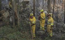 Las cuadrillas trabajan en el incendio de Riotuerto