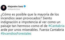 Artistas, deportistas y políticos claman contra los incendios provocados en Cantabria