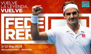 Roger Federer disputará el Mutua Madrid Open
