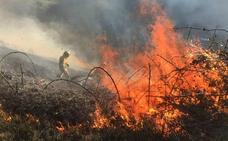Cuatro de los 10 incendios provocados seguían activos ayer en Cantabria
