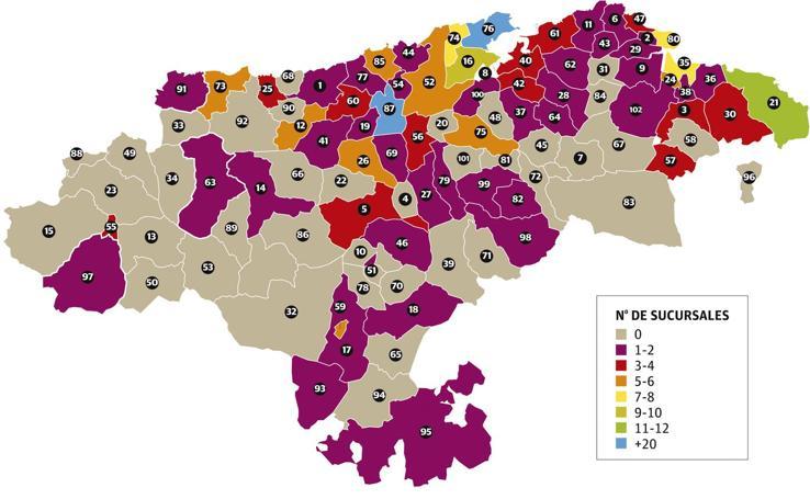 Sucursales bancarias que hay en Cantabria
