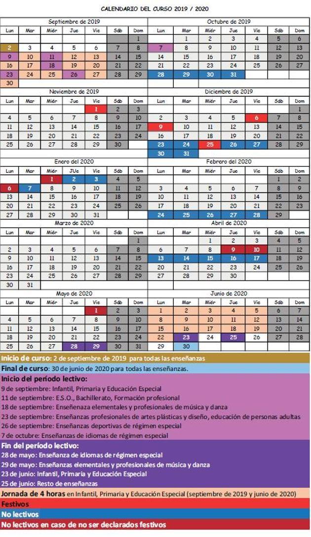Calendario Julio 2020 Para Imprimir.Publicado El Calendario Escolar Para El Curso 2019 2020 El Diario