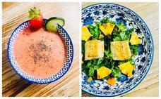 Apuesta por un menú sano con gazpacho de fresas y ensalada de verdel