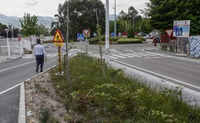 Los trabajadores de Sierrallana denuncian que la maleza invade el nuevo aparcamiento