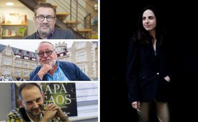 Fernando Savater, Martín Garzo, Cristina Morales y Guelbenzu, en la tribuna de los Martes Literarios