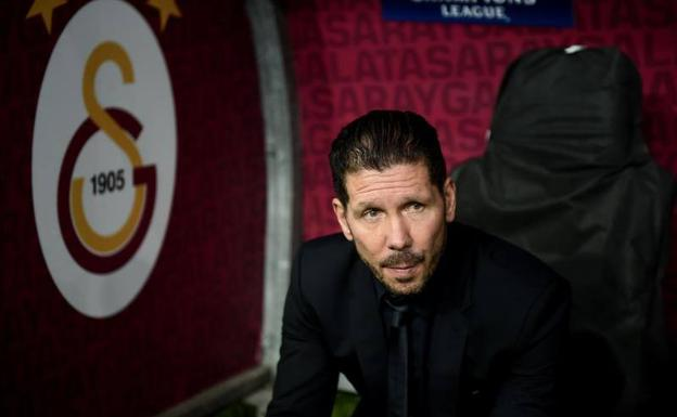 Simeone, en un partido de Champions League./AFP