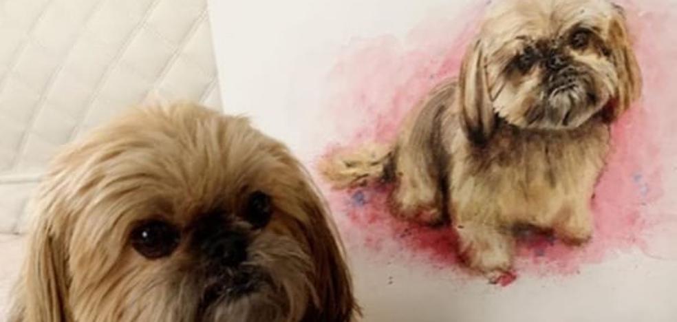 El artista Jesús Bárcena retrata en acuarela a las mascotas cántabras