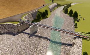 La pasarela provisional sobre el Saja, en Ruente, estará lista en octubre