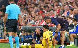 Luis Suárez, sustituido a la media hora por molestias en el gemelo derecho