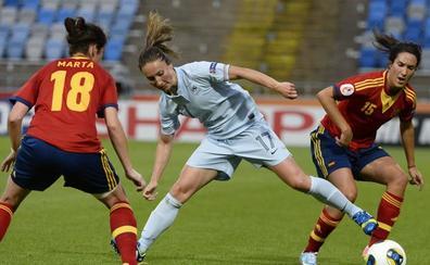 Marta Torrejón y Silvia Meseguer cuelgan la camiseta roja