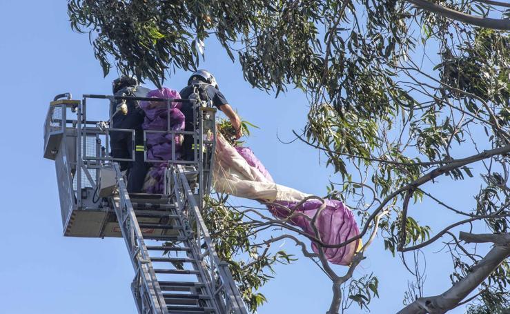 Rescatado un parapentista que quedó enganchado en un árbol junto a la playa de Mataleñas