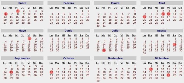 2020 Calendario Laboral.Jueves Santo Y El Lunes De Pascua Seran Festivos En