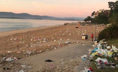 Algunas playas de Santander han amanecido llenas de basura tras un botellón universitario