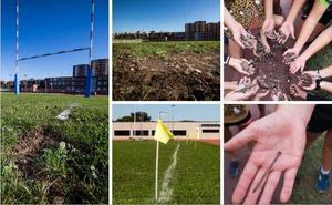Piedras, palos y clavos en el campo de rugby de La Albericia