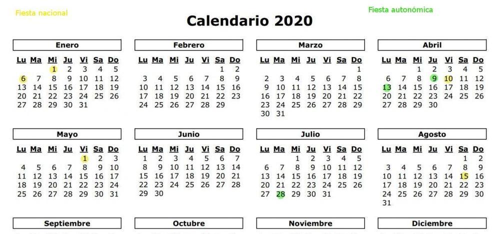 ¿Cuántos festivos disfrutarán los cántabros en 2020?
