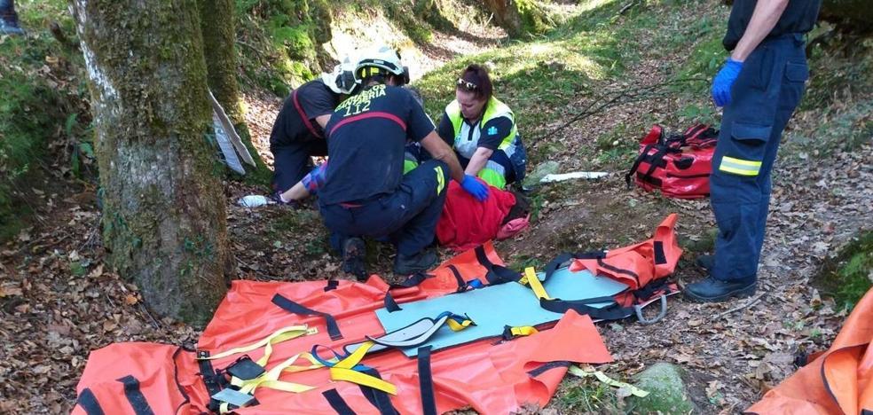 Los bomberos portean a una senderista de Santander que se precipitó dos metros cuando hacía una ruta en Ucieda