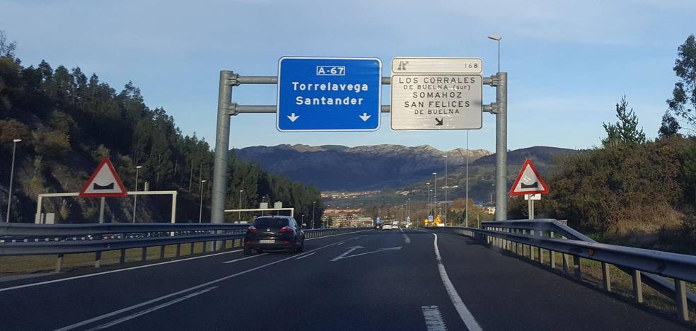 La autovía A-67 se cortará por completo mañana por la noche entre Arenas de Iguña y Somahoz