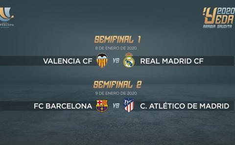 Valencia-Real Madrid y Barça-Atlético en semifinales de la Supercopa