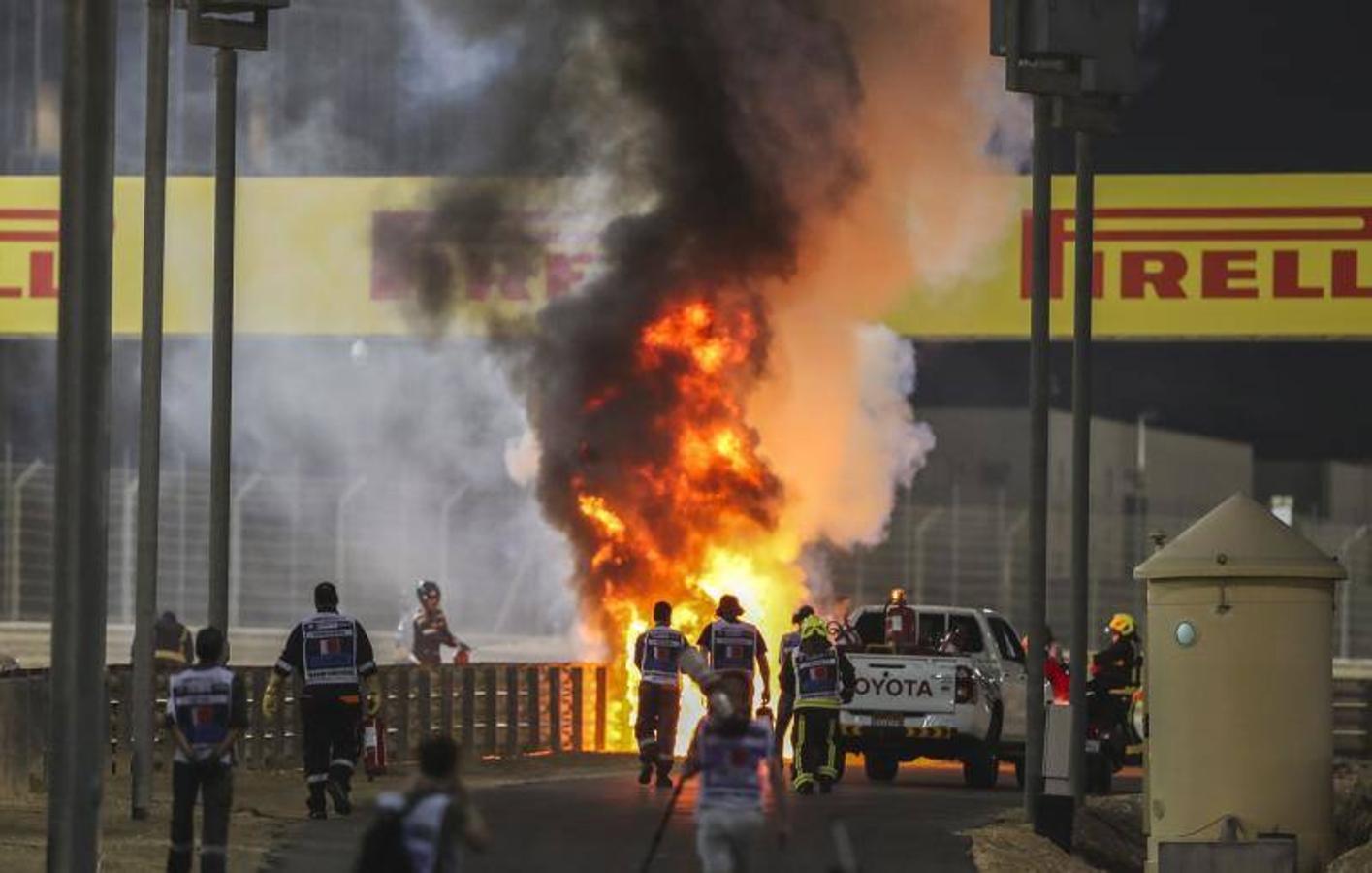 Las impactantes imágenes del accidente de Grosjean
