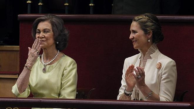 Doña Sofía, en Ginebra junto a su hija