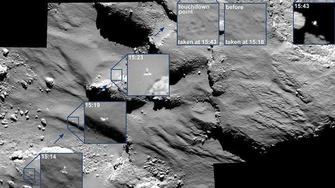 La sonda 'Rosetta' capta los rebotes de 'Philae' en el cometa