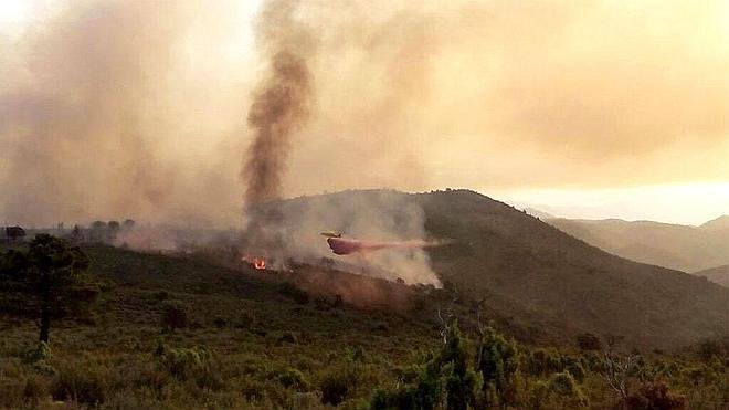 Los efectivos de extinción tratan de controlar sendos incendios en Castellón y Granada